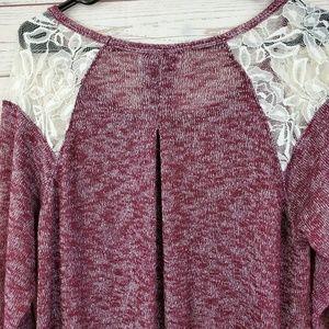 Motherhood Maternity Tops - Motherhood Maternity Red Knit Lace Shoulder Top